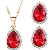 Fashion Crystal Zircon Alloy Earrings Necklace Set(1Set)