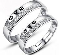 delle donne pure 925 di alta qualità lavoro manuale elegante anello in argento placcato 2pcs PROMIS anelli per le coppie