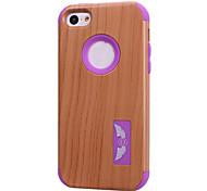 motifs de grain de bois de haute qualité logiciel enfichable sur pc + silicone hybride combo armure Housse pour iPhone 5c (couleurs