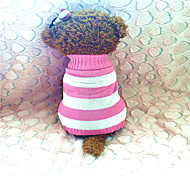 Dog Sweater Pink / Rose Winter Stripe Striped