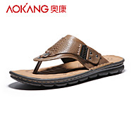 Aokang Men's Leather Sandals Khaki