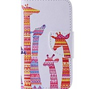 Color Giraffe Painted PU Phone Case for iphone4/4S