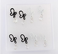 European And American Fashion Butterfly Earrings Feifei (Black + White) Box Of Four Pairs