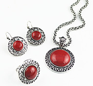 Vintage Antique Silver Man-made Red Turquoise Stone Necklace Earring Ring Jewelry Set(1Set)