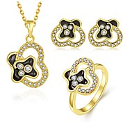 Fashion Diamond Heart multicolor Opal Gold-Plating Three-Piece(Gold,Rose Gold,White)(3pcs)