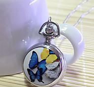 papillon multicolore alliage de modèle quartz analogique montre de poche de dames