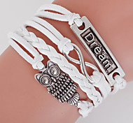 Multilayer Owl& Dream & 8 Weave Bracelet,White inspirational bracelets
