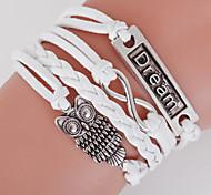 Multilayer Owl& Dream & 8 Weave Bracelet,White