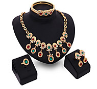 May Polly  Europe and the explosion of colorful Diamond Bracelet Ring Necklace Earrings Set