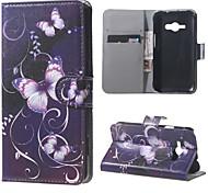 lila Schmetterling magnetische PU-lederne Mappe Flip Ganzkörper-Fall mit Standplatz für Samsung Galaxy ace j1 J110