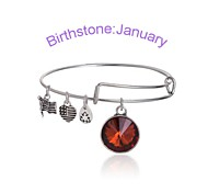 New Charm Ajustable silver Month stones bracelet bangle Christmas Gifts