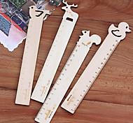 Animal Design Wooden Ruler(15cm Random Pattern)