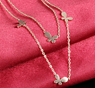 Double Butterfly Ms Elegant Temperament Necklace