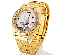 Ladies' Watch Eiffel Tower Pattern With Diamond Dial Ladies Quartz Watch