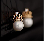 Women's Fashion Rhinestone Metal Crown Pearl Earrings
