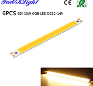 YouOKLight® 6PCS DIY 10W COB LED 3000K 950lm Warm White Light Strip (DC 12~14V)