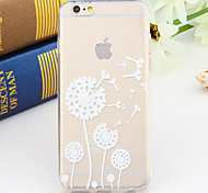 Black and White Style Flowing Dandelion 2-Times Printed TPU Soft Back Cover for iPhone 6/6S