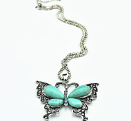 Vintage Look Antique Silver Plated Butterfly Crystal Turquoise Stone Necklace Pendant(1PC)