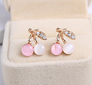 Women's Fashion Sweet Cherry Opal Crystal Earrings