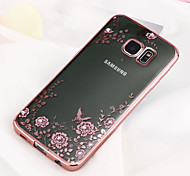 For Samsung Galaxy S8 Plus Rhinestone Plating Transparent Case Back Cover Case Flower TPU Samsung S7 edge S7 S6 S5 S8