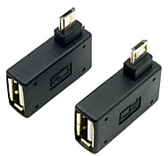 CY® USB 2.0 to Left and Right Bank Micro USB OTG Connector (Black,1 set)