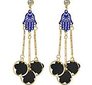New Design Black Enamel Flower Hanging Long Earrings Jewelry Fashion