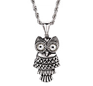 Vintage Owl 316L Stainless Steel Corrosion Casting Pendant Necklace
