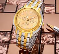 ROSRA Stahllegierung Band Herren Business Casual Uhr Quarzuhren mit 3 Hilfszifferblätter Dekoration Großverkauf der Fabrik