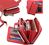 Embossed PU Leather Separation  Purse Zipper Multifunction Lanyard  Phone Case for iPhone 6 / 6S