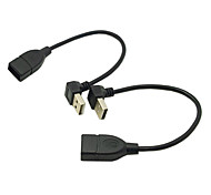 CY® Male USB 2.0 Turnup and Downward Angled to Male USB 2.0 Cable 0.2M(2 pcs)