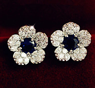 Women's Fashion Elegant Silver Blue Crystal Flower Pattern Earrings
