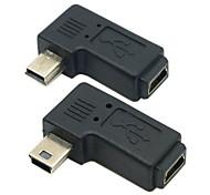 cy® mini usb de mujer a hombre izquierda y derecha girando adaptador mini USB