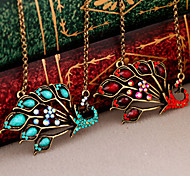 New Arrival Fashion Jewelry Retro Gem Peacock Necklace