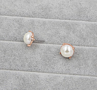 Fashion Women Classic 12mm Glass Pearl Stud  Earrings