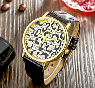 SOXY® Hot Sale Special Design Men's Luxury Faux Black Leather Strap Watch Leopard Grain Surface Watch