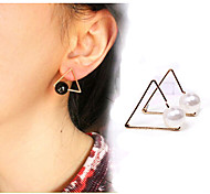 Women's Fashion Cute Unique Design Hollow Triangle Pearl Earrings