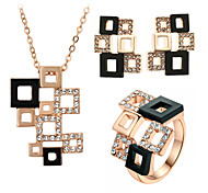 T&C Women's Special Hollowed Frame Design Magic Cube Pendant Necklace and Stud Earrings and Ring Set