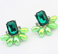 European And American Fashion Elegance Gem Green Crystal Earrings