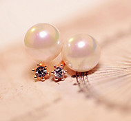 Stud Earrings Pearl Imitation Pearl Simulated Diamond Alloy Fashion Gold Silver Jewelry 2pcs