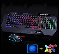 High Quality Shining Gaming Computer Keyboard 2400DPI Mouse  and Mouse Pad 3 Pieces a Set