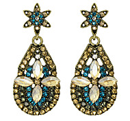 New Design Vintage Style Colorful Rhinestone Flower Drop Earrings Jewelry Fashion