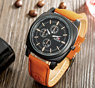 SOXY® Business Style Precise Brown Plate Black Leather Strap Watch Fashion Quartz Watch for Men