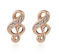 T&C Women's Music Note Stud Earrings 18k White/Rose Gold Plated Party Jewelry Valentine's Gift