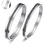 Valentine's Day Gifts Personalized Jewelry Lovers Titanium Steel Silver Bracelets(One Pair)