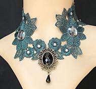 Graceful Vintage Gothic Style Exquisite Lace Turquoise Pendant Choker Necklace