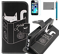 LEXY® Reading Cat Pattern PU Full Body Leather Case with Screen Protector and Stylus for iPhone 5C