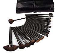 Generic 32 Pcs Black Rod Makeup Brush Cosmetic Set Kit with Case