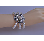 Korean Fashion  Drill Pearl Disc Flowers Bracelet