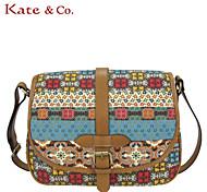 Kate & Co.® Women PVC / Canvas Shoulder Bag Brown - TH-02227