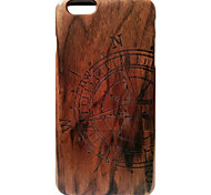 Kyuet Wooden Case Black Walnut Compass Shell Cover Skin Cell Phone Case for iPhone 6s 6 Plus